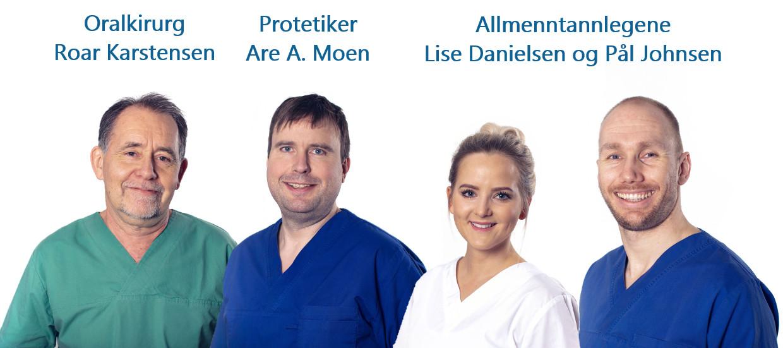 Bilde av tannlege Are Moen, Roar Karstensen, Pål Johnsen, Lise Danielsen
